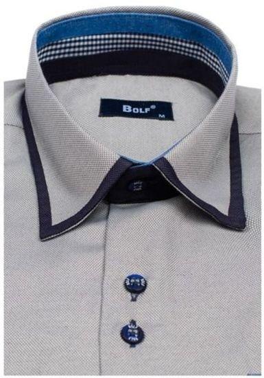 Koszula męska elegancka z długim rękawem szara Bolf 6902