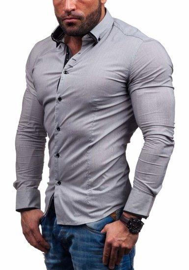Koszula męska elegancka z długim rękawem szara Denley 7188