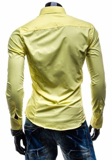 Koszula męska elegancka z długim rękawem żółta Bolf 1703