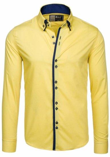 Koszula męska elegancka z długim rękawem żółta Bolf 1721-1