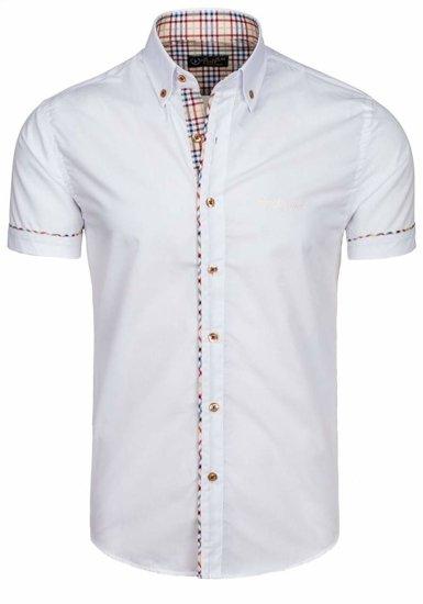 Koszula męska elegancka z krótkim rękawem biała Bolf 5509-1