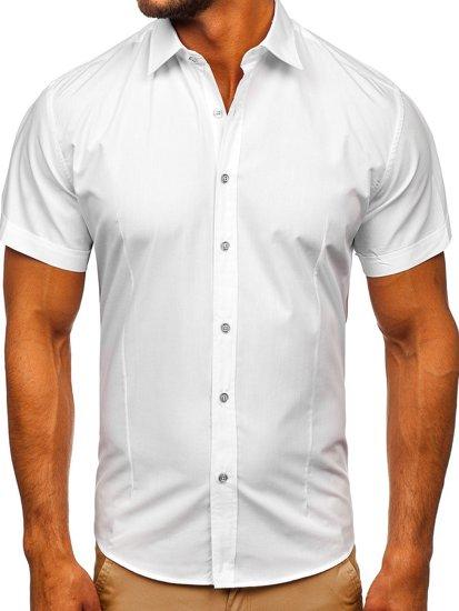 Koszula męska elegancka z krótkim rękawem biała Bolf 7501