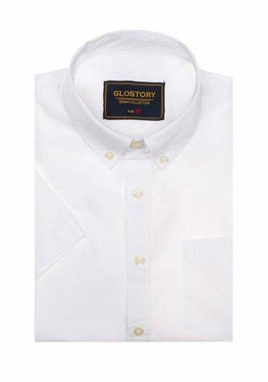 Koszula męska elegancka z krótkim rękawem biała Denley 8166