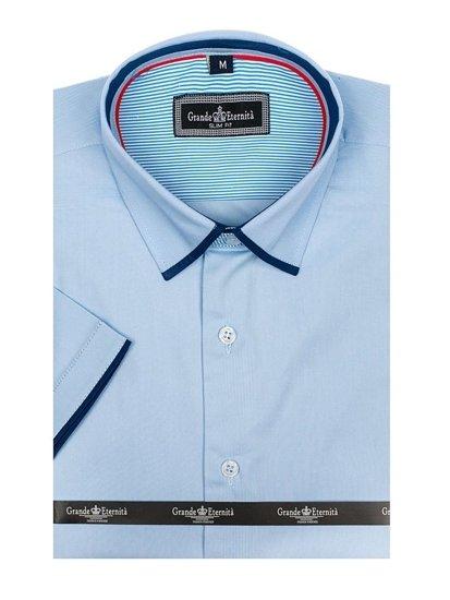 Koszula męska elegancka z krótkim rękawem błękitna Denley GE1