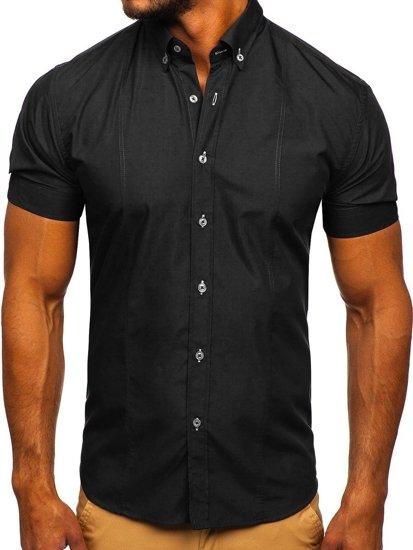 ekonomiczny Koszula męska elegancka z krÓtkim rękawem czarna