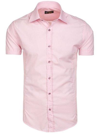 Koszula męska elegancka z krótkim rękawem różowa Bolf 7501