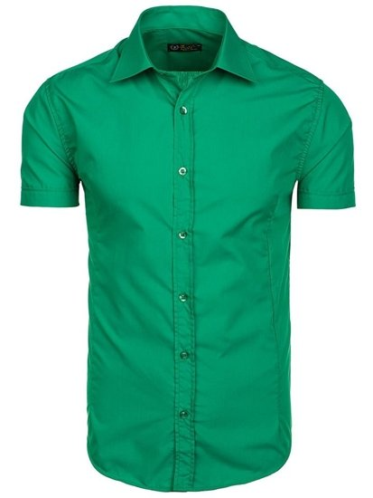 Koszula męska elegancka z krótkim rękawem zielona Bolf 7501