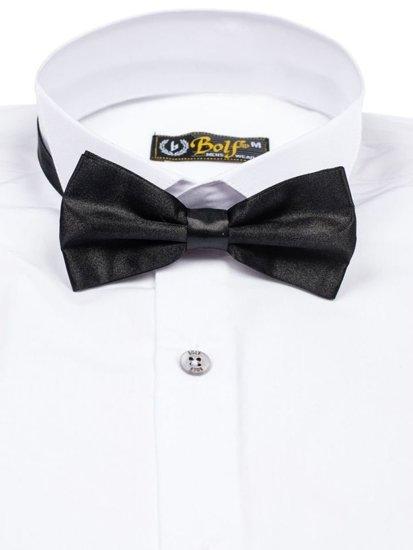 Koszula męska elegancka z muszką z długim rękawem biała Bolf 5785