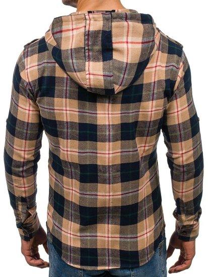 Koszula męska flanelowa z długim rękawem beżowa Denley 2500