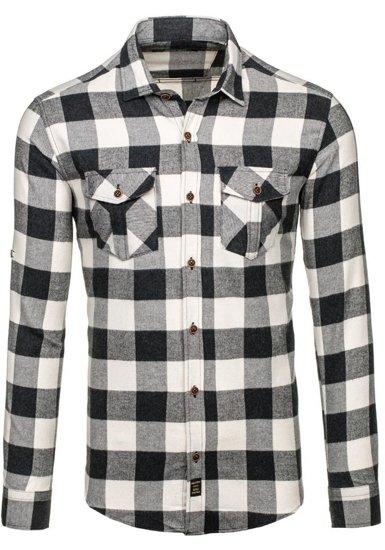 Koszula męska flanelowa z długim rękawem czarna Denley 1770