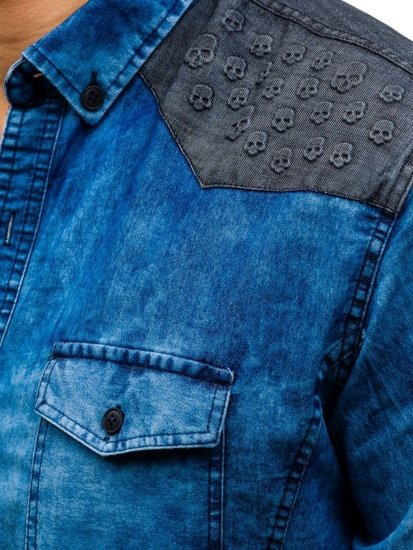 Koszula męska jeansowa we wzory z długim rękawem niebieska Denley 0517-1