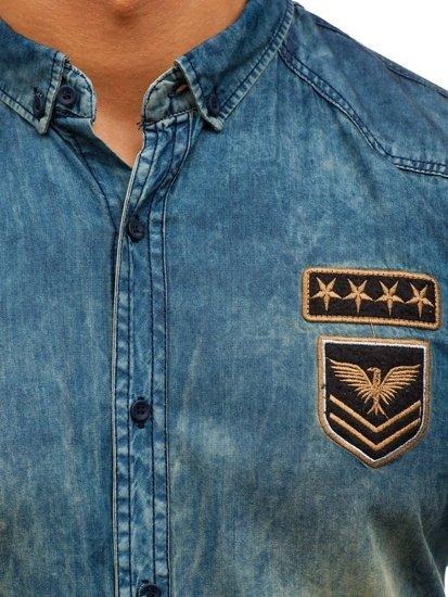 Koszula męska jeansowa z długim rękawem granatowo-szara Denley 0992