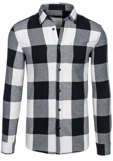 Koszula męska w kratę flanelowa z długim rękawem czarna Denley 7201