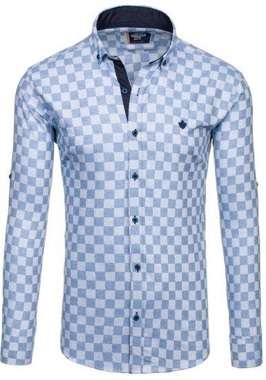 Koszula męska w kratę z długim rękawem błękitna Denley 01