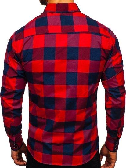 Koszula męska w kratę z długim rękawem bordowa Bolf 4701-2