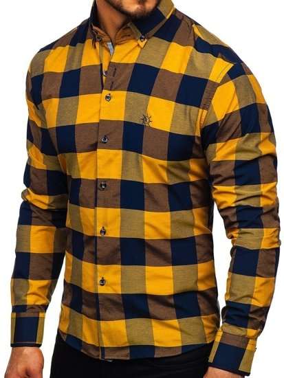 Koszula męska w kratę z długim rękawem brązowa Bolf 4701-2