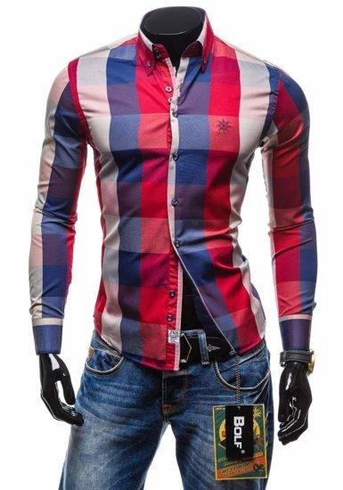 Koszula męska w kratę z długim rękawem czerwona Bolf 4701-2