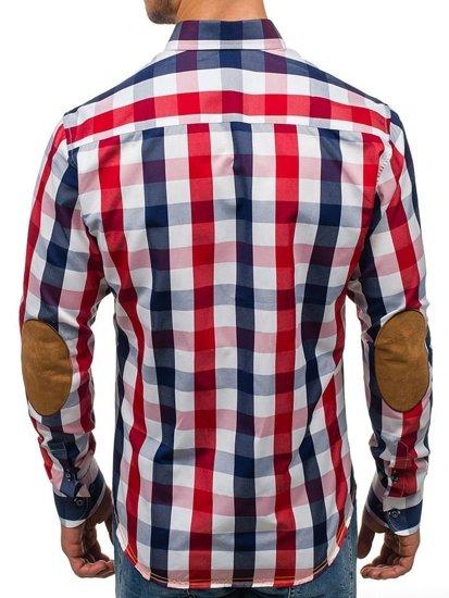 Koszula męska w kratę z długim rękawem granatowa Bolf 1766