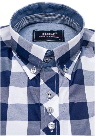 Koszula męska w kratę z długim rękawem granatowa Bolf 6888