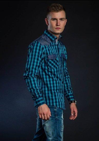Koszula męska w kratę z długim rękawem morska Bolf 6904