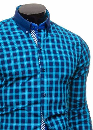 Koszula męska w kratę z długim rękawem turkusowa Bolf 5813