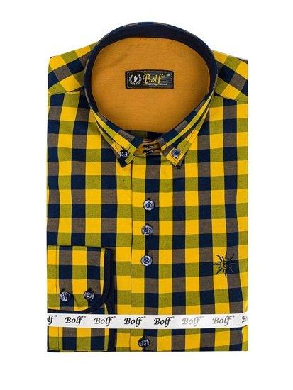 Koszula męska w kratę z długim rękawem żółta Bolf 4701