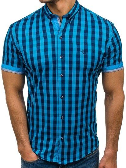 Koszula męska w kratę z krótkim rękawem turkusowa Bolf 4508