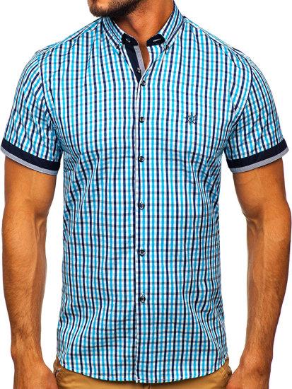 Koszula męska w kratę z krótkim rękawem turkusowa Bolf 4510
