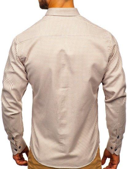 Koszula męska w kratkę z długim rękawem beżowa Bolf 9715