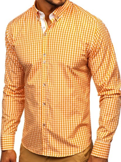 Koszula męska w kratkę z długim rękawem pomarańczowa Bolf 9712