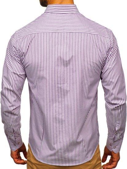 85% ZNIŻKI Koszula męska w paski z długim rękawem fioletowa  pAgeW