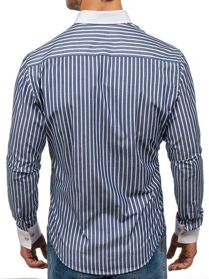 Koszula męska w paski z długim rękawem granatowa Bolf 1771