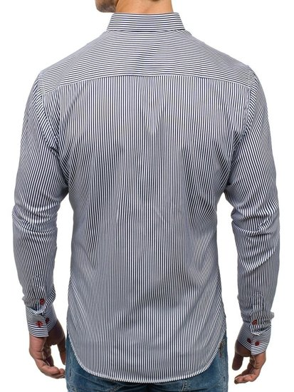 Koszula męska w paski z długim rękawem granatowa Bolf 7719