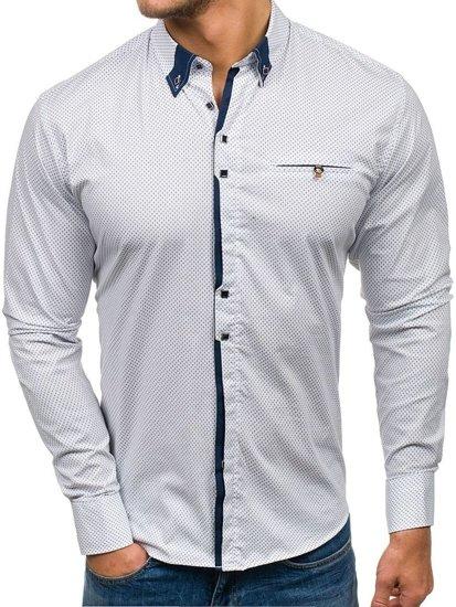 Koszula męska we wzory z długim rękawem biało-granatowa Bolf 7717