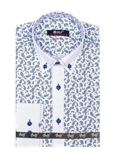 Koszula męska we wzory z długim rękawem granatowa Bolf 6926