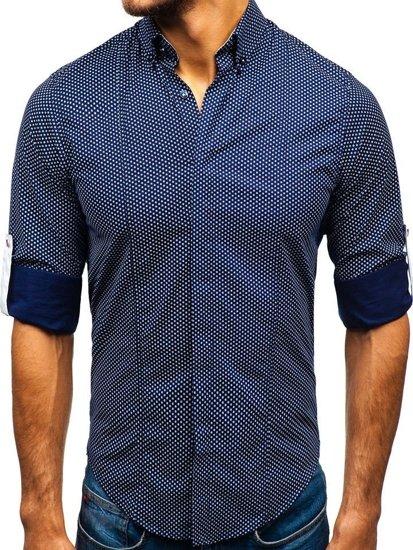 Koszula męska we wzory z długim rękawem granatowo-biała Bolf 7715