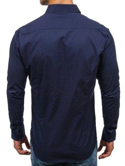 Koszula męska we wzory z długim rękawem granatowo-fioletowa Denley GE1018