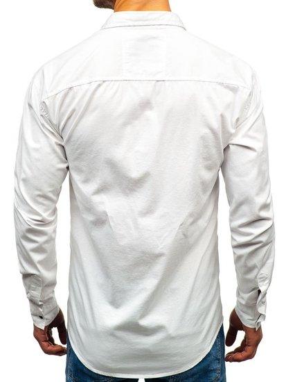 Koszula męska z długim rękawem biała Denley 2058-1