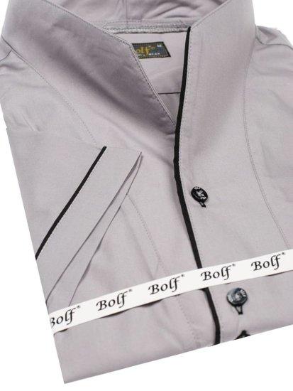 Koszula męska z krótkim rękawem szara Bolf 5518