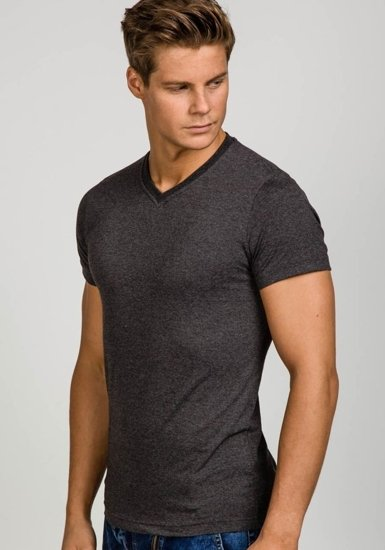 Koszulka męska bez nadruku w serek antracytowa Denley t31