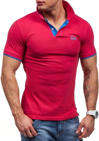 Koszulka polo męska różowa Denley 7344