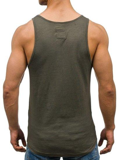 Koszulka tank top męska z nadrukiem khaki Denley 9050