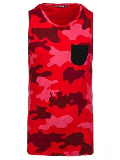 Koszulka tank top męska z nadrukiem moro-czerwona Denley 1085