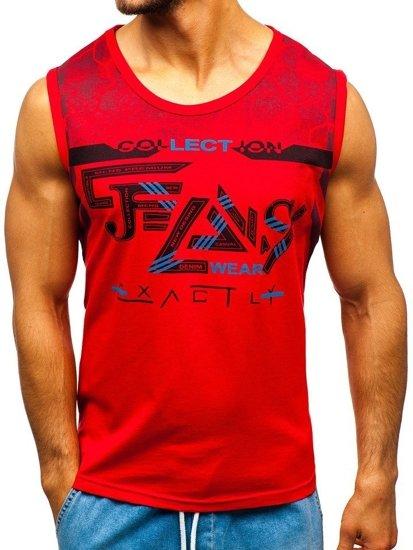 Koszulka tank top z nadrukiem czerwona Denley 14270