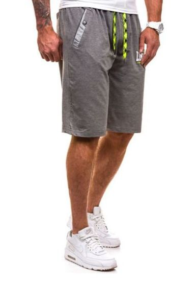 Krótkie spodenki dresowe męskie antracytowo-seledynowe Denley 193A
