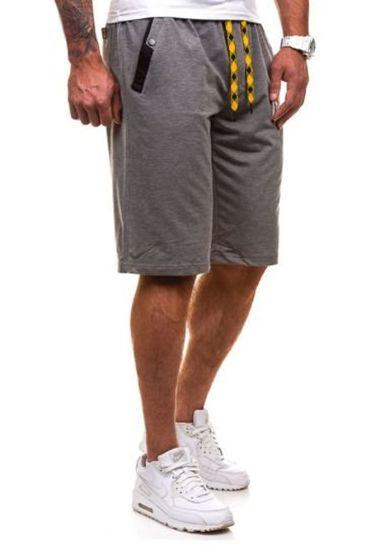 Krótkie spodenki dresowe męskie antracytowo-żółte Denley 193A