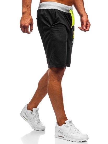 Krótkie spodenki dresowe męskie czarne Denley EX07-1