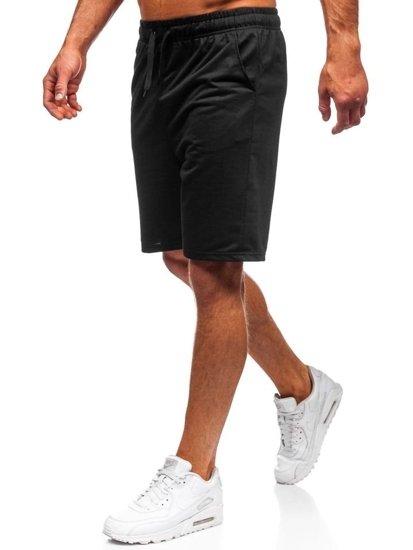 Krótkie spodenki dresowe męskie czarne Denley KK301