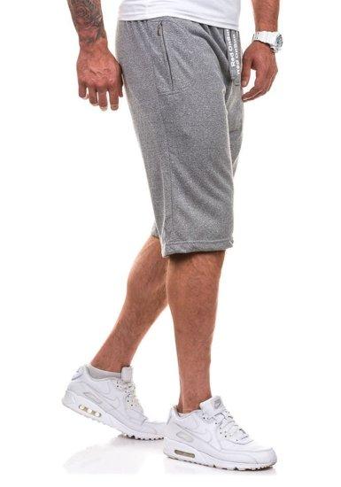 Krótkie spodenki dresowe męskie szare Denley 2189