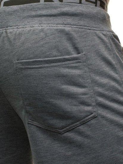 Krótkie spodenki dresowe męskie szare Denley 6010